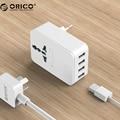 Orico carregador usb 20 w adaptador de conversão de viagem universal plug power iphone 7 surge protector com 4 portas usb de carregamento (s4u)
