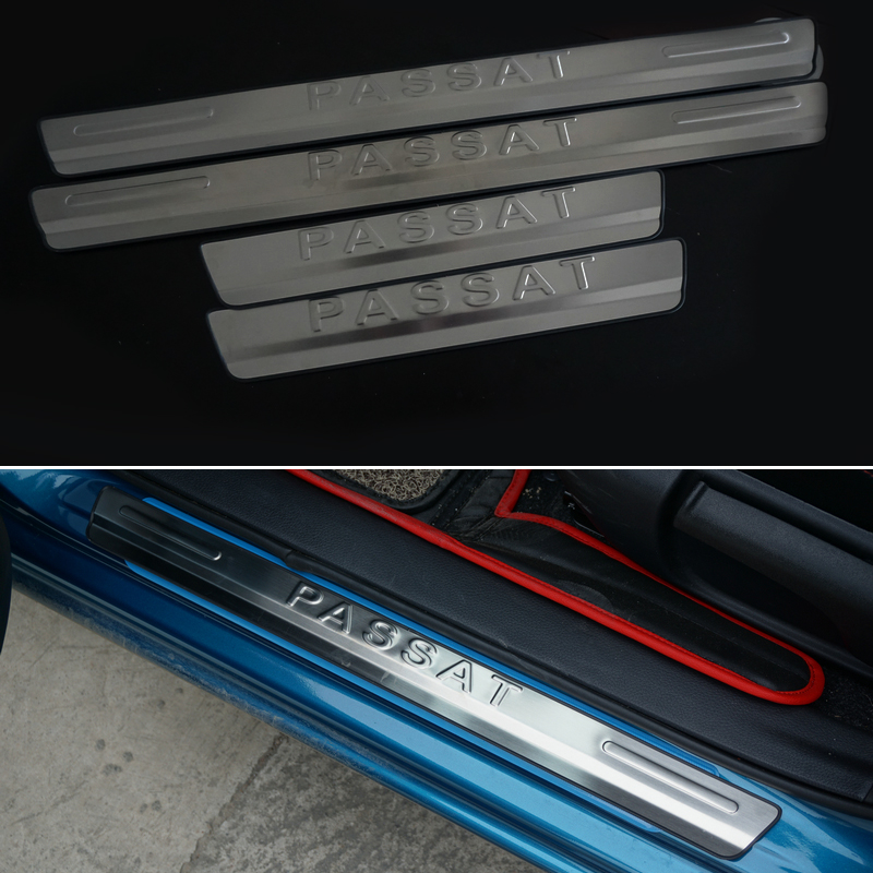 free shipping stainless steel scuff plate door sill 4pcs set car accessories for vw volkswagen. Black Bedroom Furniture Sets. Home Design Ideas