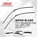 "Wiper Blade para Mercedes Benz ML Class W164 (2005-2011) 1 conjunto de 28 ""+ 21"", Feixe de Aero plana Windscreen Wiper Frameless Suave Blades"
