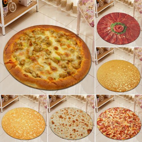 Non-Slip Mat Carpet Pizza Prints Round Mat Living Room Kitchen Floor Mats Rug Bedroom Bathroom Office Home Floor Decoration