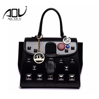 AOU N Women Bag High Grade Pu Leather Handbags Fashion Rivet Bags Women Candy Color Messenger