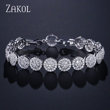ZAKOL Charming Flower Bracelet Hand-set Micro Inlay Craft AA