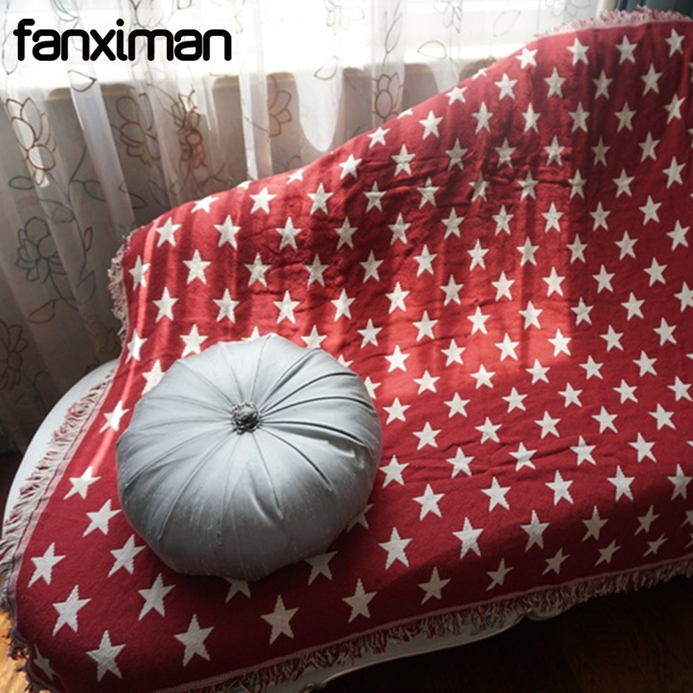 Sofa Throws Knitted Us 35 99 28 Off Aliexpress Buy Double Sides Cotton Blanket Knitted Star Weaving Throws For Couch Sofa Cover Towels Beds Blankets With Tassels