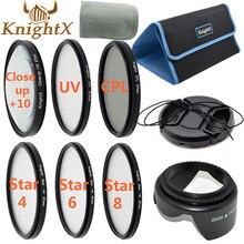 Buy online KnightX uv filter 67mm 52mm Star nd cross CPL Lens Kit for Canon Nikon d3200 d5200 d5100 Sony Digital Camera 650d 70d d7200 d90