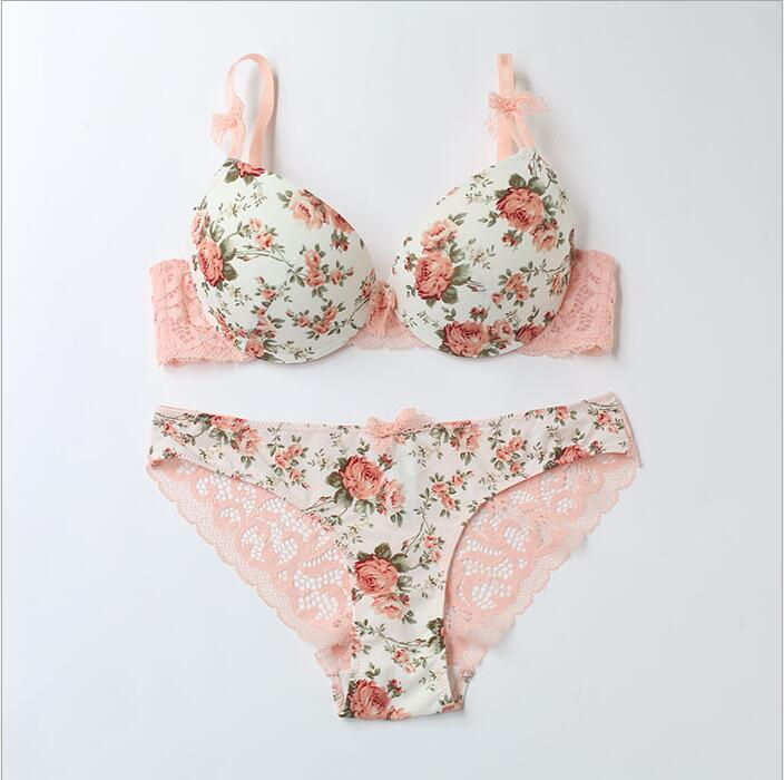 Rose prints cotton women's   bra   and   brief     set   flower bow   bra     set   3/4 cup push up underwear   set   lingerie