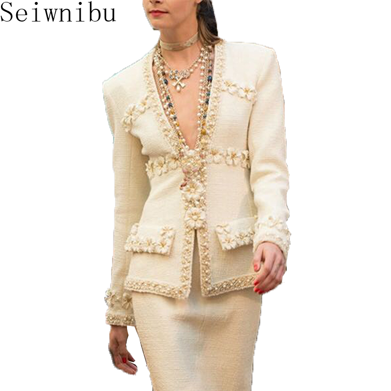 2018 spring fall Women Deep V Neck luxury 3D Flower Beading Tweed Jacket slim coat elegant
