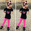 2017 New Arrival Spring Summer Kids Girls Pink Lip Print Clothing Sets(Short Sleeve T-Shirt+Pants) Children Clothes Suits H571
