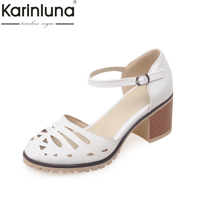 KarinLuna Large Size 33-43 square High Heels Women Shoes Woman White Platform Ankle Strap Date Wedding Party Pumps цена