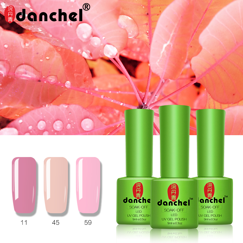 купить 3pcs/lot Danchel Gelpolish Soak Off UV Nail Gel Polish Varnish Pure Color Gel Base Top Coat UV Lamp Nail Art Design Gel Lacquer онлайн