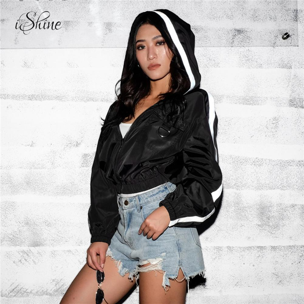 Women Casual Black   Basic     Jackets   Stripe Patchwork Zipper Hooded Baseball Bomber   Jackets   Hip Hop Style Windbreaker Coats Jaqueta