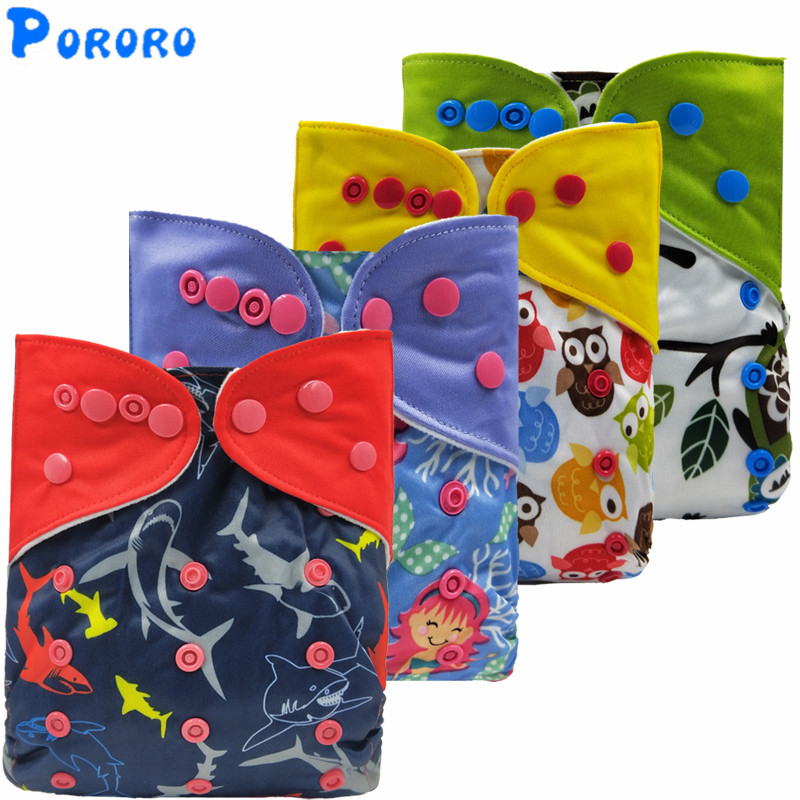 Baby Reusable Waterproof Cloth Diapers Print One Size Pocket Cloth Diaper Nappy Cover Wrap Baby Boys Girls With Color Tab