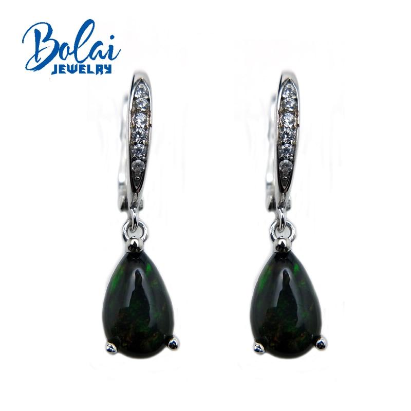 bolaijewelry,Natural Black ethiopian Black opal Peal 6*9mm 2ct gemstone jewelry earrings 925 sterling silver fine jewelry цена