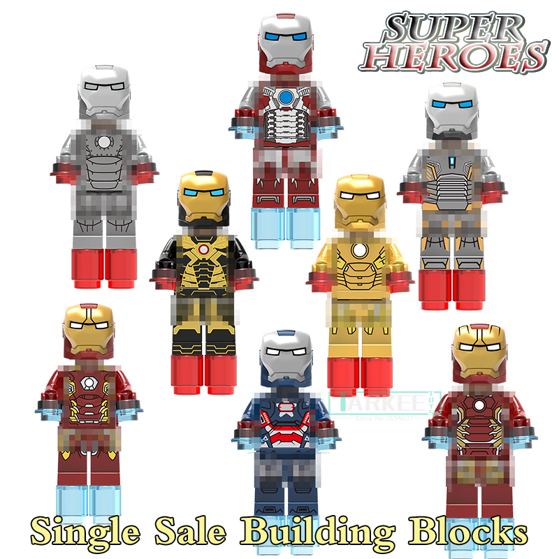 1pc Super Heroes Iron Man Mark 1 25 42 MARK43 45 Mark 31 29 Iron Patriot Building Blocks Bricks Toys Action Figures Kids Toys dr tong super heroes captain america iron man armor mark 42 interlocking bricks action building blocks toys children gifts mk42