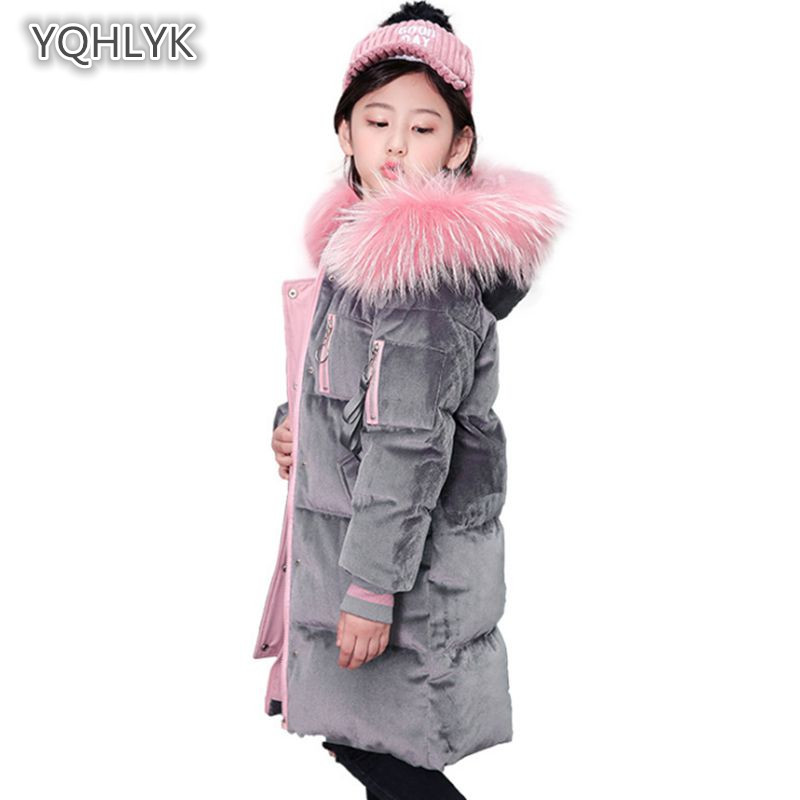 2018 new winter girl down jacket Korean gold velvet hooded warm girls cotton coat thick long children's Parkas Outerwear LK232 children new winter girl coat fashion hooded warm down jacket thicken girl cotton long parkas coat cotton outerwear