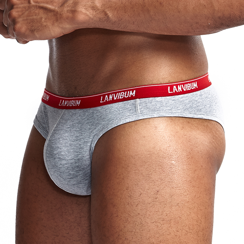LANVIBUM Sexy Mens Bikini Underwear Briefs Gay Sissy Penis Pouch Low Waist Cotton Comfort Slim Men Small Briefs Underwear S24XBR