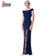 IDress Split Sequined Long Summer Dress Elegant Off Shoulder Evening Party  Dresses 2018 Women Long Dress Sexy Bodycon Maxi Dress 41b944898d64