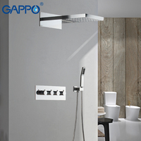 GAPPO смесители для душа скрывал термостат водопад стены душевой смеситель ванна осадков набор для душа ванной смесители