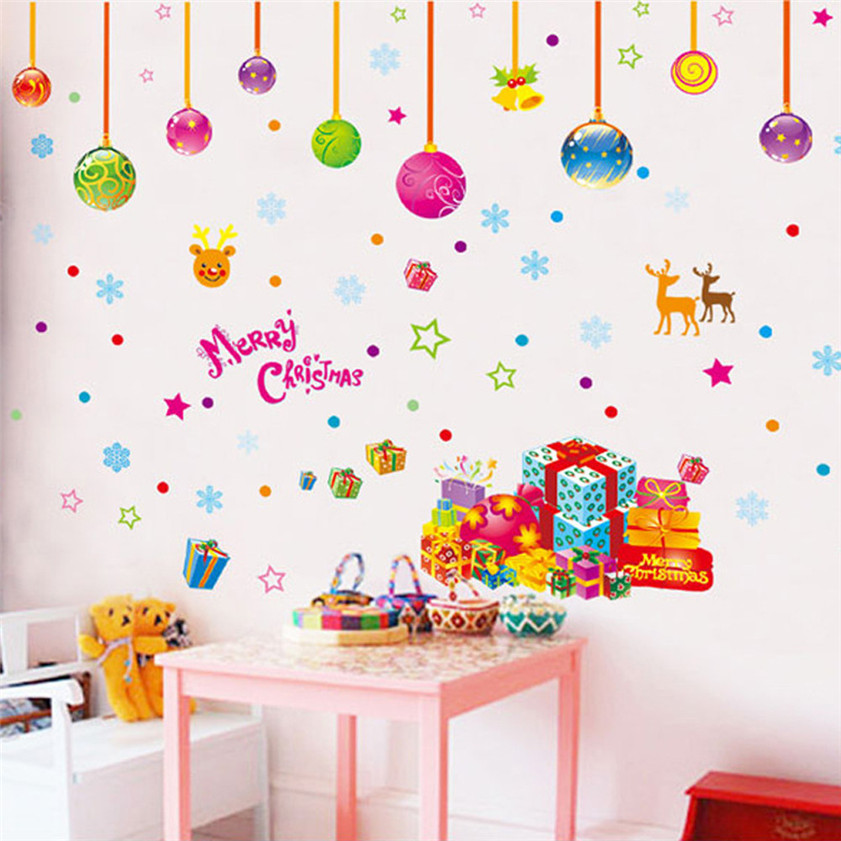 Wallpaper Sticker Xmas Christmas Removable Wall Stickers Home Decor Art Decal Mural Room DIY Wallpapers For Living Room 2018 B#