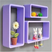 3pieces / lot Hexagon Shaped Decorative Wall Shelves Wood Modern pink,white 3D Sticker Korean Shelfs