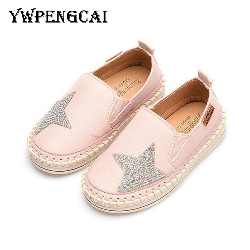 YWPENGCAI Spring Autumn Girls Shoes Bling Rhinestone Star Kids Slip-on Shoes Size 21-30 Toddler Girl Shoes Pink, Beige, Black