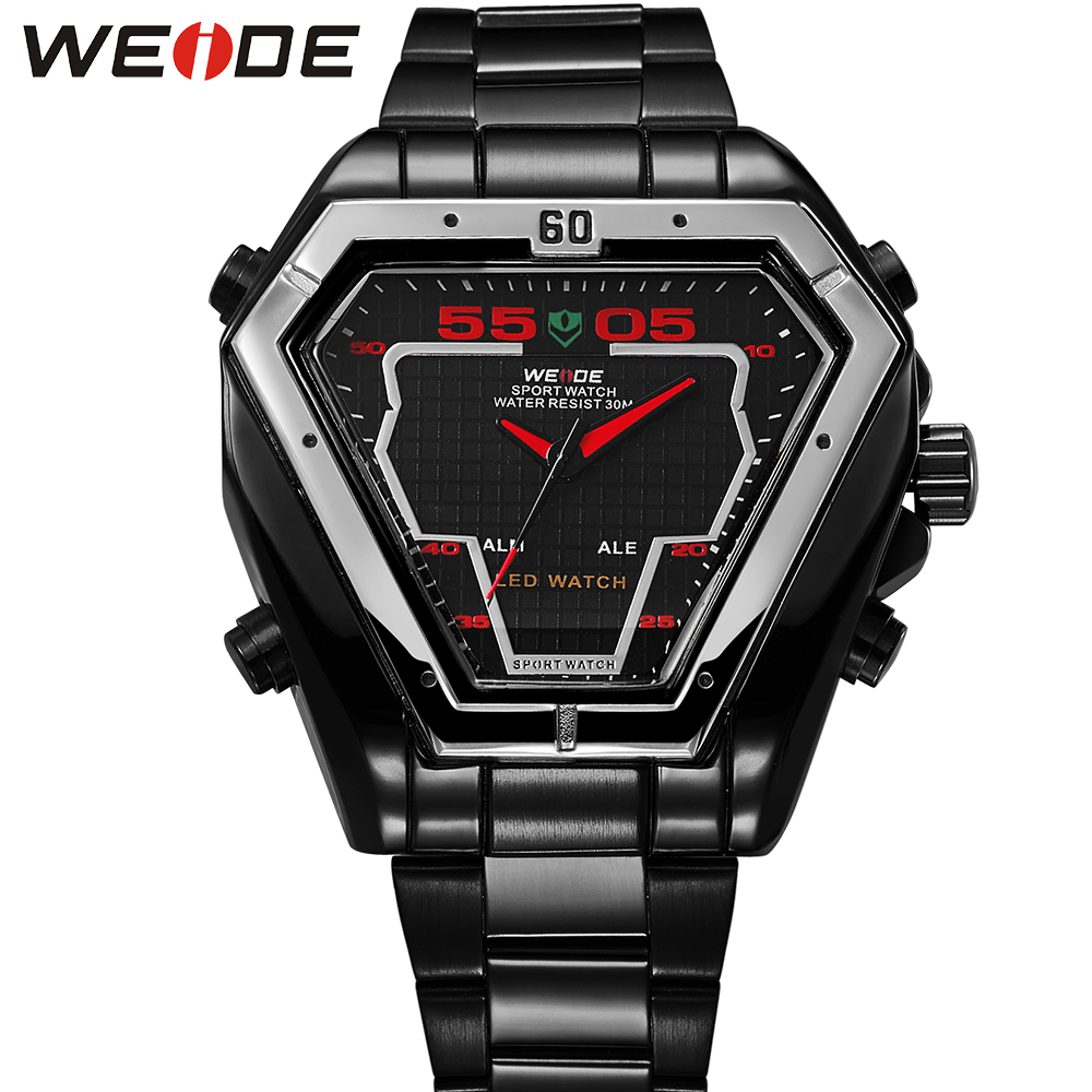 WEIDE Popular Brand Sport LED Digital Watch Men Military Black Stainless Steel Analog Quartz Triangle Watch Original Gifts weide original brand watches men sport quartz analog digital display full stainless steel famous logo watch with gift paper box