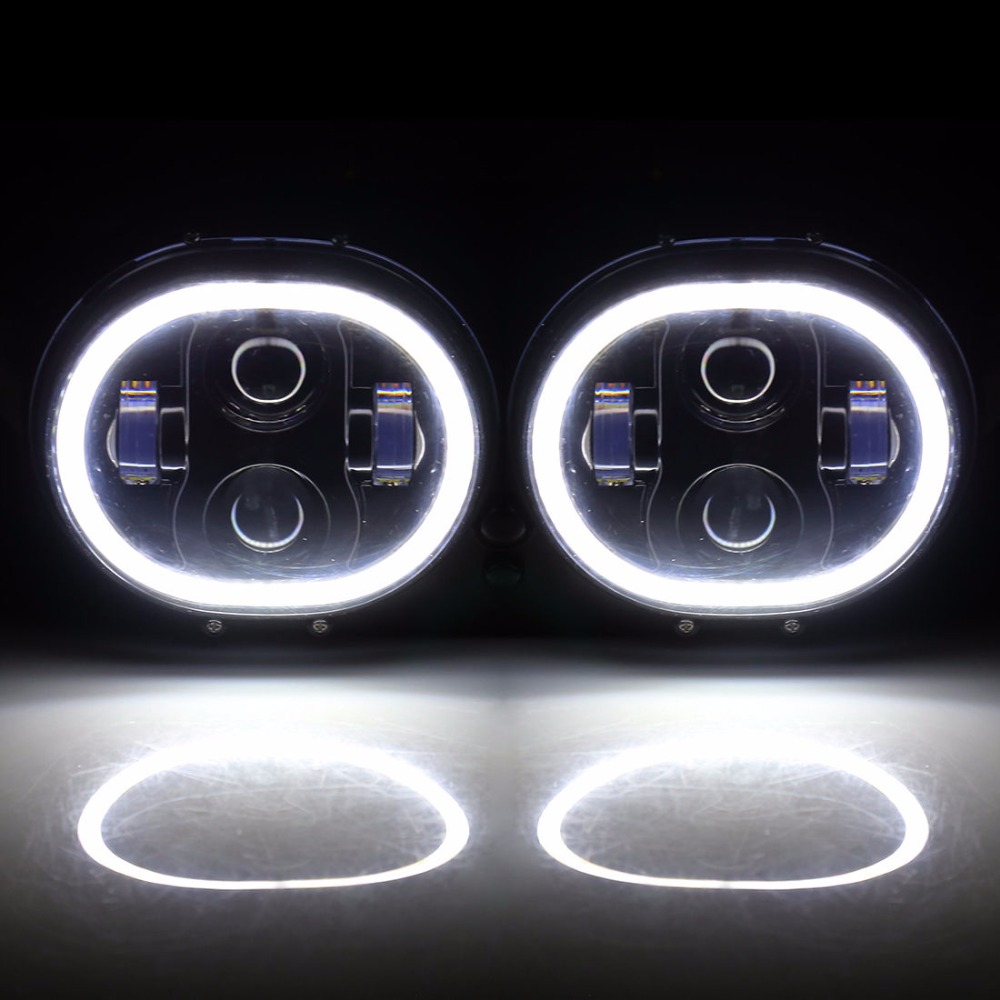 80W LED Projector Road Glide Headlights Assembly Angel Eyes Halo DRL Dual Light For Harley Davidson