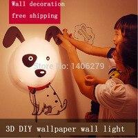 Новинка для маленьких Спальня 3D мультфильм ночник Домашний декор собак Светодиодный Творческий сделай сам украшения обои Стикеры ночника