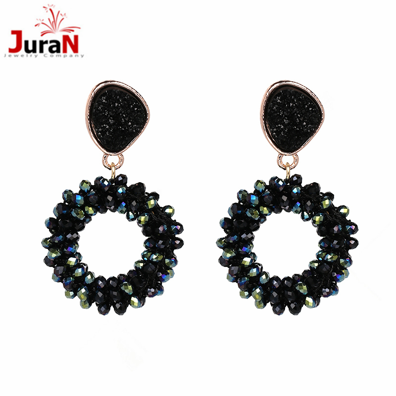 JURAN 2018 New Arrival High quality fashion round hand made crystal beads earring statement crystal drop Earrings for women