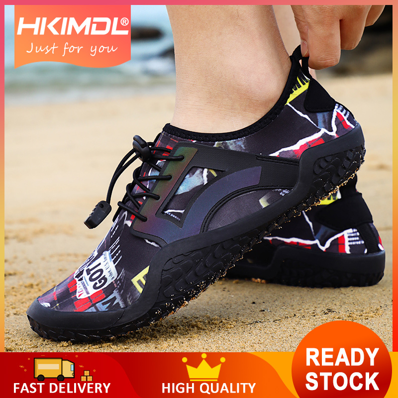 HKIMDL 2019 Men Shoes Summer Beach Wading Shoes Swimming Quick-Drying Breath Rubber Reef Non-slip On Surf Unisex Water Shoes