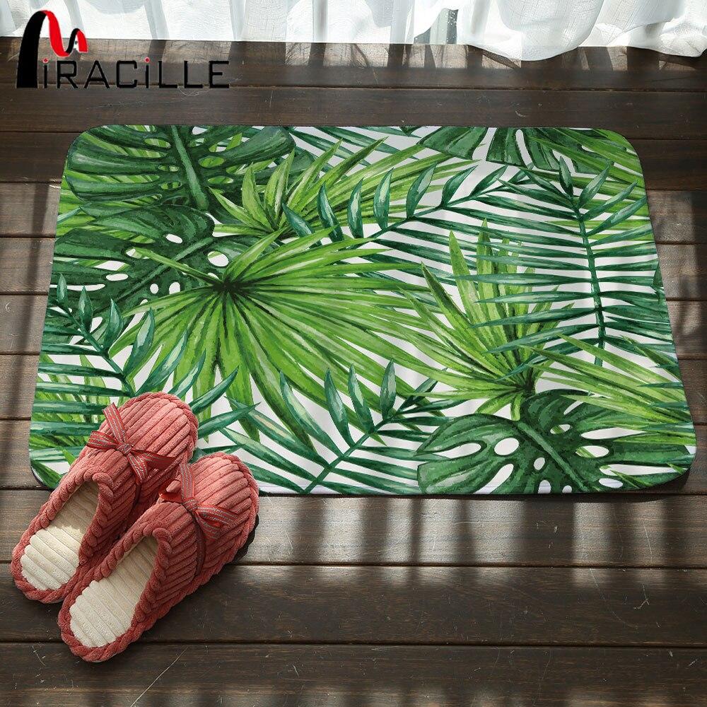 Miracille Entrance Home Doormats Tropical Plants Printed Coral Velvet Bathroom Anti-slip Carpet Outdoor Kitchen Floor Mats Rug