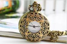 dc094fc15e5 10 pçs lote antiguidades Bronze Oco flores Do Vintage quartz relógios de bolso  colar de baixo preço