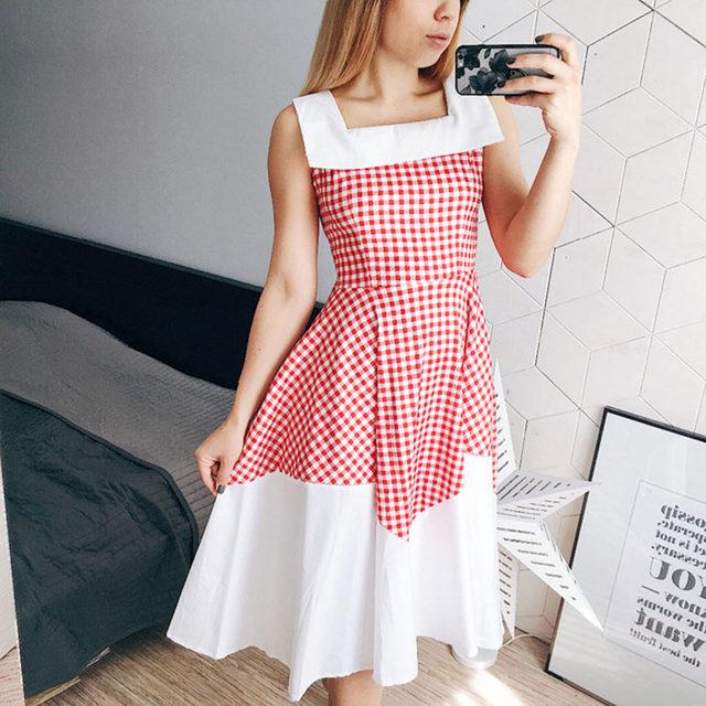 Online Shop Sisjuly vintage dress 1950s style spring red plaid ...