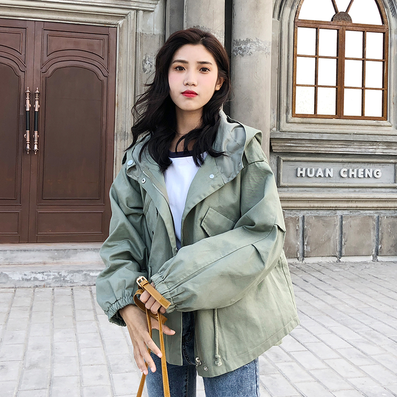 FTLZZ New Loose Trench Coat Spring Autumn Women's Hooded Black Green Windbreaker Outerwear Female Casual Trench Coat 14