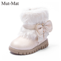 2016 New Winter Girls Shoes Slip Snow Boots Warm Mouth Rabbit Fur Flat Boots Tide Cotton