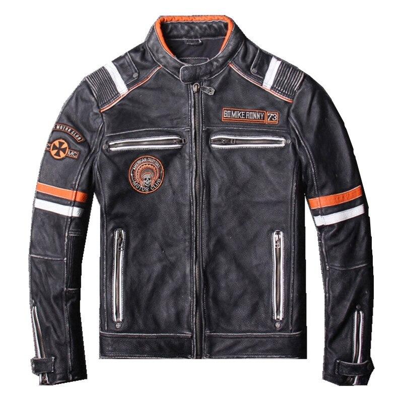 2019 Vintage Black Men Biker's Leather Jacket Plus Size XXXL Genuine Cowhide Slim Fit Motorcyclist Leather Jacket FREE SHIPPING