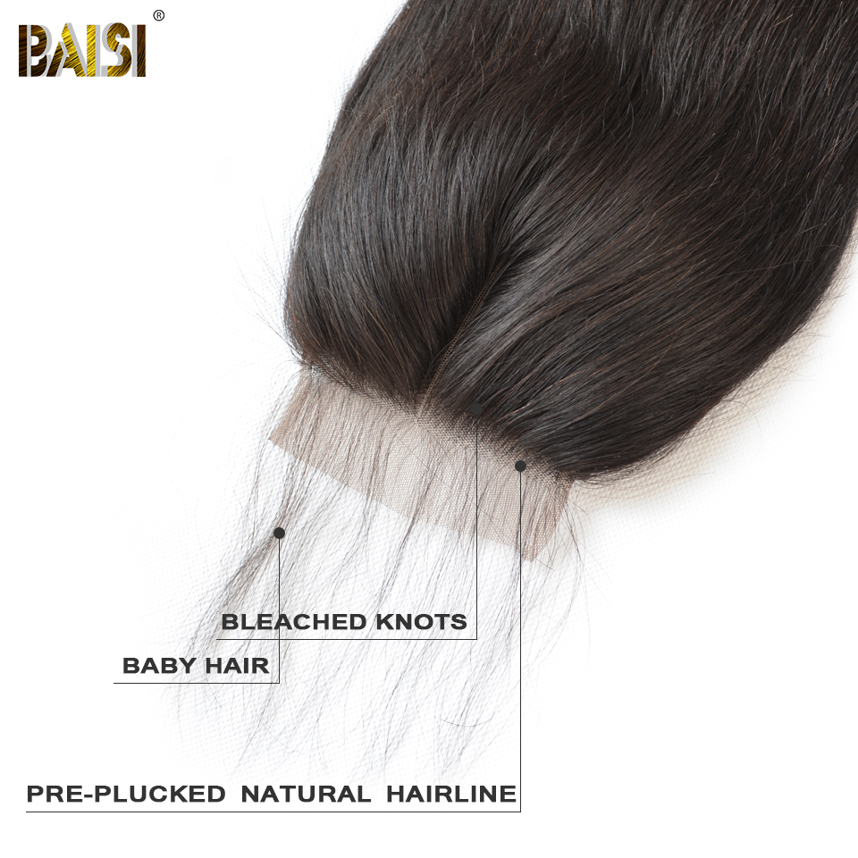 Image 5 - BAISI Hair Peruvian Straight Swiss Lace Closure 4x4 Middle Part Free Part Three Part 100% Human Hair-in Closures from Hair Extensions & Wigs