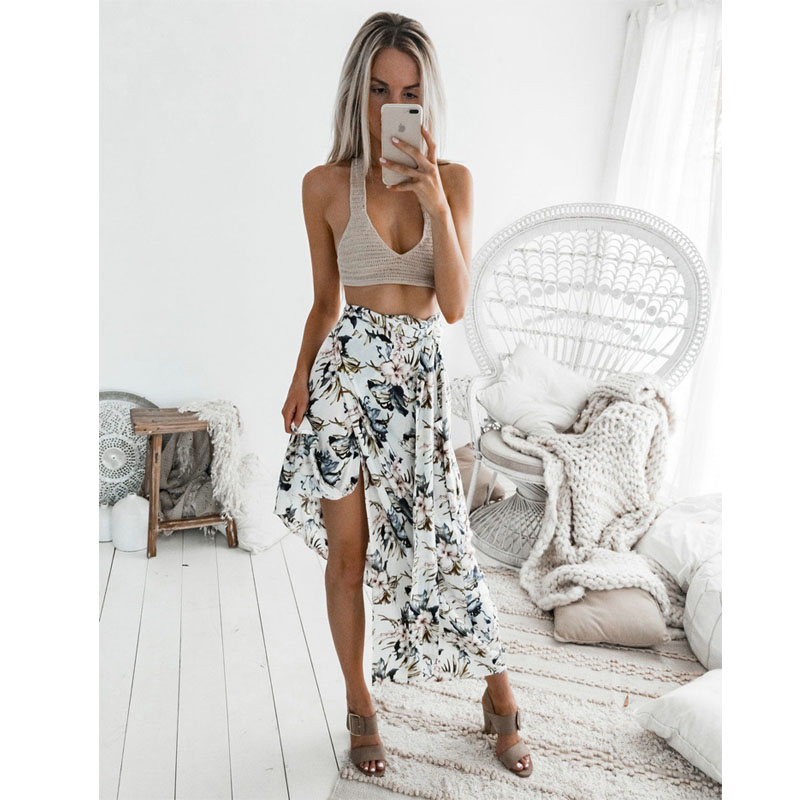 Bohemian Style Summer Women High Waist Maxi Skirts Pleated Beachwear Holiday Chiffon Print Long Casual Skirts