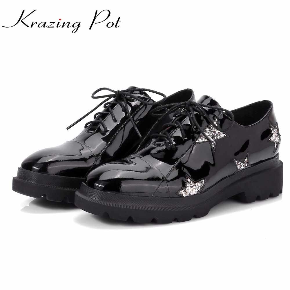 KRAZING POT cow leather British school brand shoes thick med heels lace up five-star patterns round toe autumn winter pumps L20 xiaying smile woman pumps shoes women spring autumn wedges heels british style classics round toe lace up thick sole women shoes