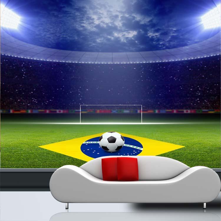 Sports Football Mural Theme Stadium 3d Wall Mural Vinyl Wallpaper For Club  Bar Sofa Background 3d