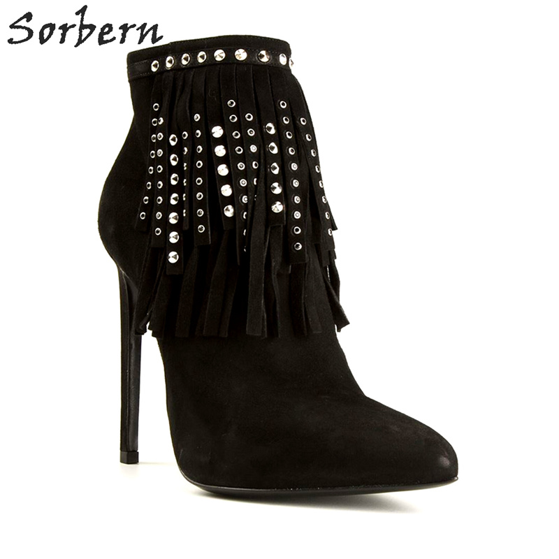 Sorbern Women Boots Black Botas Mujer 2017 Ladies Party Boots Hot Sale Shoes Rivets Thin Heels Ankle Boots For Women Plus SizeSorbern Women Boots Black Botas Mujer 2017 Ladies Party Boots Hot Sale Shoes Rivets Thin Heels Ankle Boots For Women Plus Size