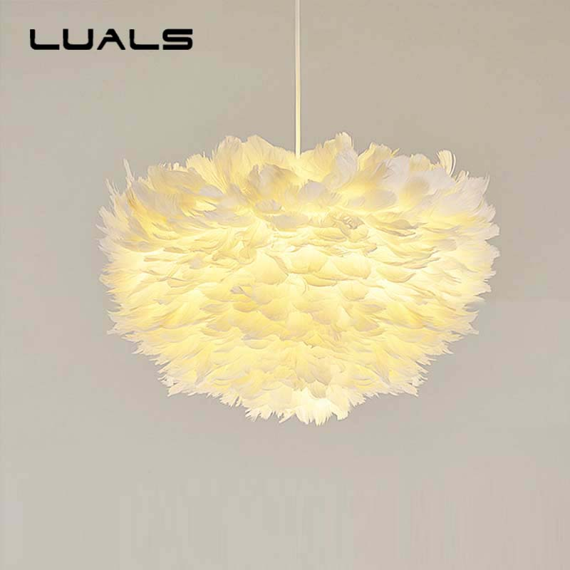 White Feathers Pendant Lamp Personality LED Pendant Light For Bedroom Living Room Warmth Decoration Modern Indoor Lighting