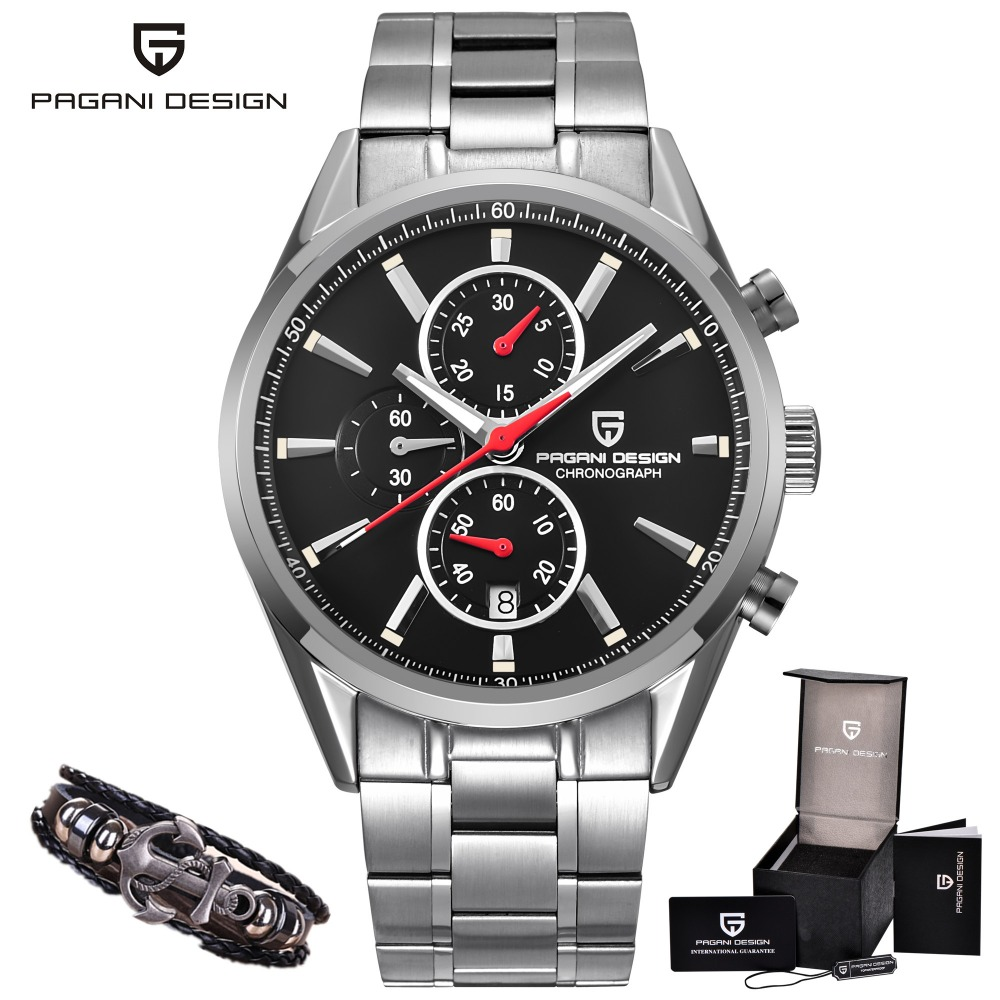 PAGANI DESIGN Brand Luxury Watch Men Business Casual Fashion Leather Quartz Military Waterproof Black Watches Relogio Masculino pagani design business casual leather men s watches fashion sport utility chronograph military watches relogio masculino 2016