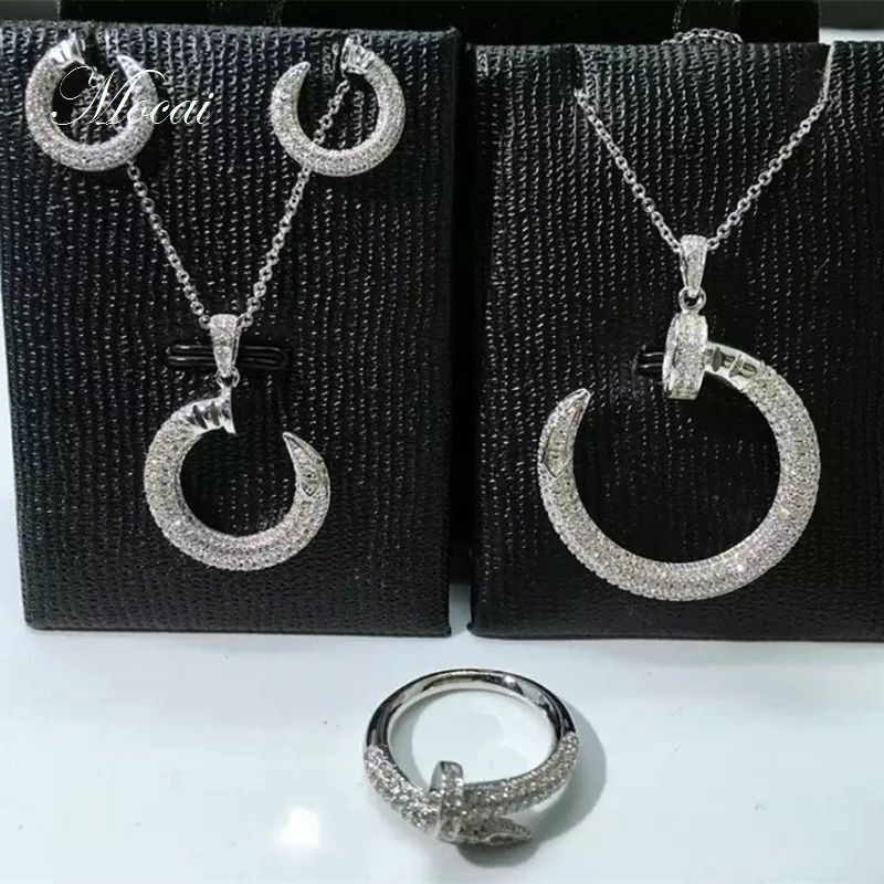 Brand Trend Simple Nail Earrings Necklace Jewelry Sets Micro Pave Cubic Zirconia Modern Nails Jewellery Sets