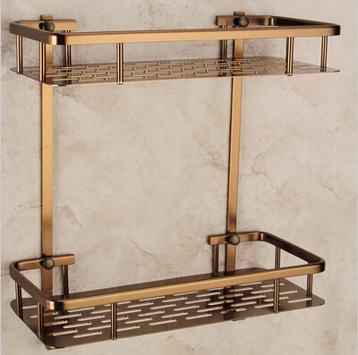 Wall Mounted Antique Bronze Alumimun Bathroom Soap Basket Bath Shower Shelf  Bath Shampoo Shelf Basket Holder