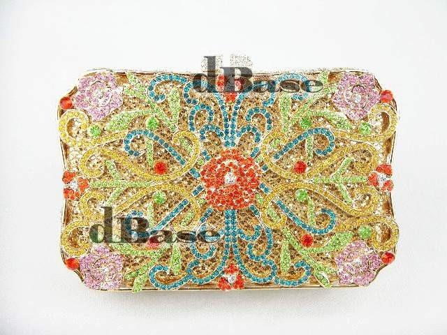 ФОТО 8132-B crystal Treasure box Lady fashion Wedding Bridal hollow Metal Evening purse clutch bag handbag