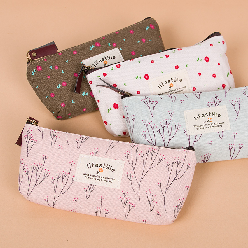 1PC Kawaii Lovely Floral Canvas Zipper Pencil Cases Fabric Flower Tree Pen Bags Plant Stationery Rural Style Pencil Box