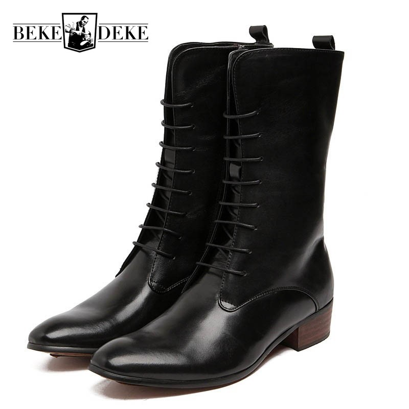 Fashion Lace Up Men Mid-Calf Boots Personality Punk Motor Biker Genuine Leather Shoes Male Large Size Martin Boots Rock Footwear 2018 winter men riding boots mid calf military botas blue black genuine leather knight martin shoes male fashion safety footwear