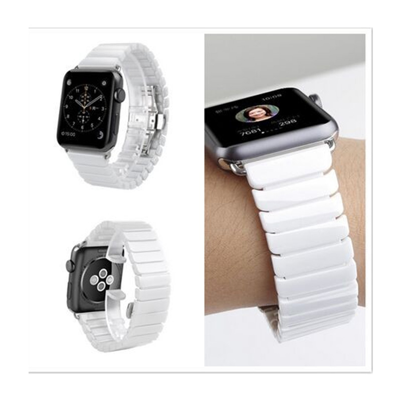 High Quality Ceramic Watch Band Link Bracelet Butterfly buckle 42mm 38mm  Black White Watchbands for Apple Watch Bands | Fotoflaco.net