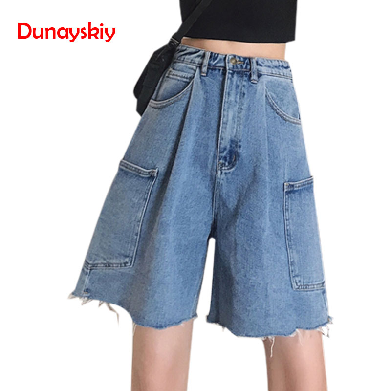 Knee Length Denim Shorts Women Fashion Washed High Waist Loose Denim Wide Leg Jeans Shorts Hip Hop Style Casual
