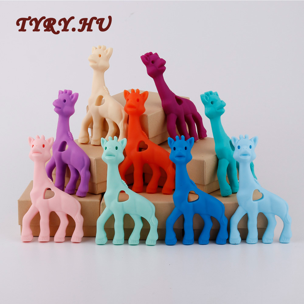 TYRY.HU 10PC Silicone Teether Giraffe Toy BPA Free Silicone Teether Beads Baby Teething Pendant For Nursing Baby Teethers Chew